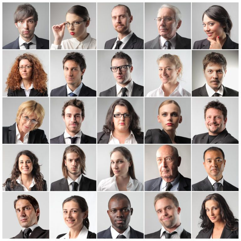 Composition of various portraits of business people