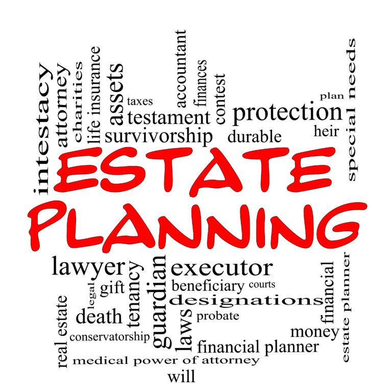 Estate Planning Word Cloud Concept in red caps with great terms such as durable, will, financials, lawyer, executor, probate and more.