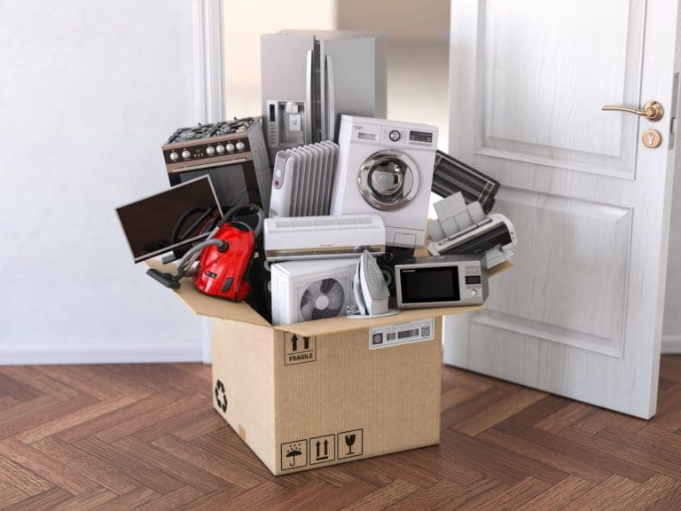 Delivery, moving and online shopping concept. Home household k