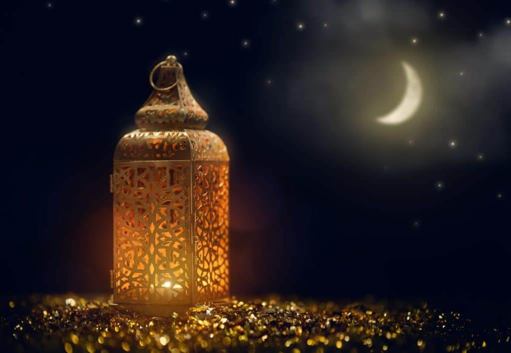 Arabic lantern with burning candle