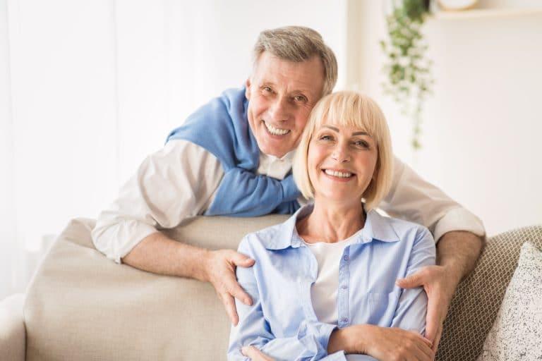 Love lives forever! Senior man hugging wife
