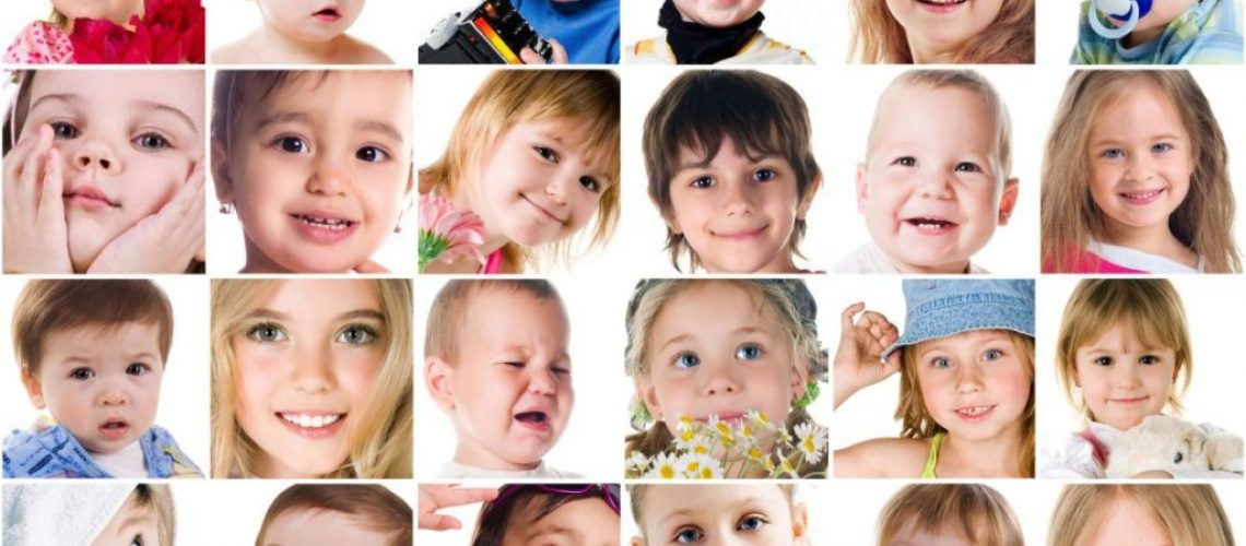 Set of cute little children's photos isolated on white