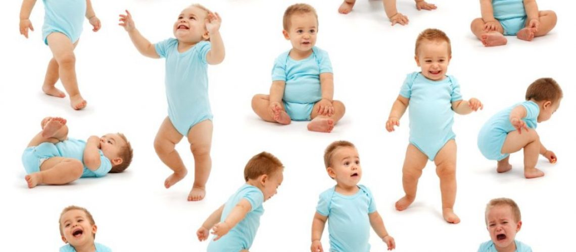 Collection of various situations of a baby boy's behavior. Isolated on white